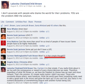 facebook status and comments regarding the blame game