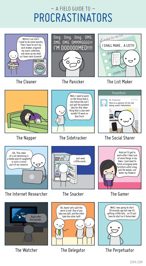 The field guide to procrastinators by 20 pixels...pretty funny and I'm basically ALL of them!