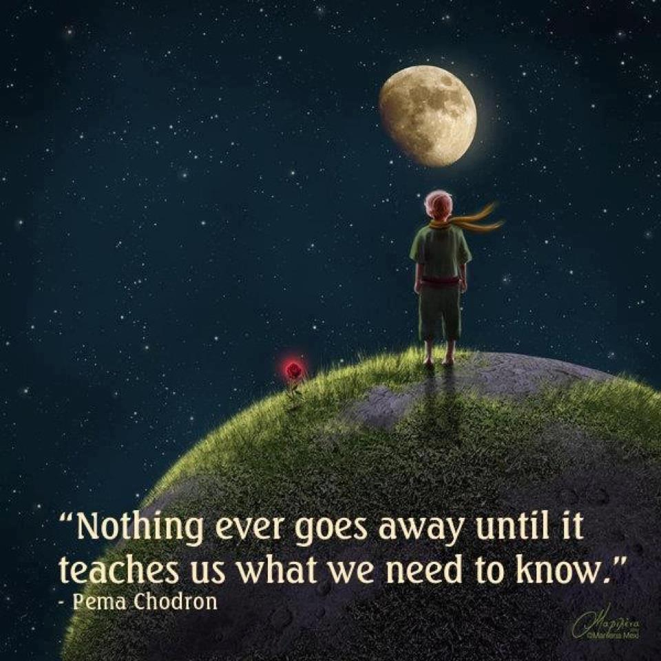 Nothing Ever Goes Away Until It Teaches Us What We Need To Know