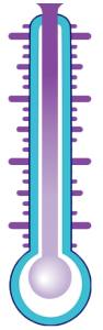 purple teal thermometer